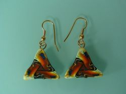 Brown/Orange Triangle Design Earrings